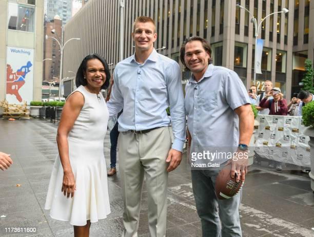 "Condoleeza Rice, Johnny Damon and Rob Gronkowski visit ""FOX & Friends"" at Fox News Channel Studios on September 10, 2019 in New York City."