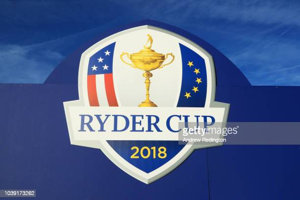 Condoleezza Rice and Kurt Russell visit the Ryder Cup shop ahead of the 42nd Ryder Cup 2018 at Le Golf National on September 24 2018 in Paris France