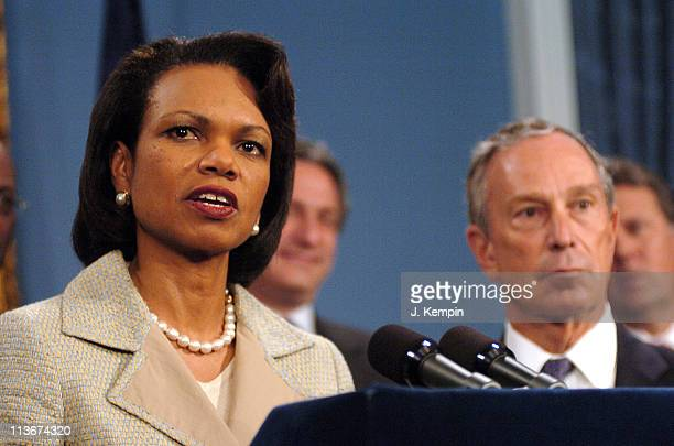 Condoleezza Rice and Michael Bloomberg during US Secretary of State Condoleezza Rice Joins NYC Mayor Bloomberg at SendOff Rally for New York Olympic...