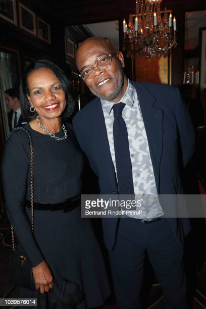 Condoleezza Rice and Samuel L Jackson attend 'Ryder Cup Dinner' at Fouquet's Barriere on September 24 2018 in Paris France