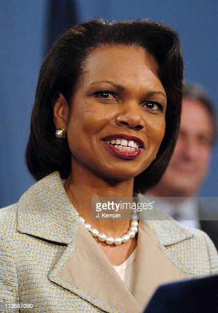 Condoleezza Rice during U.S. Secretary of State Condoleezza Rice Joins NYC Mayor Bloomberg at Send-Off Rally for New York Olympic Delegation at City...