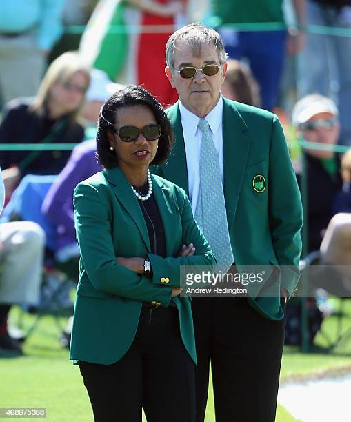 Condoleezza Rice former Secretary of State and current Augusta National Member and Billy Payne Chairman of Augusta National Golf Club are pictured...
