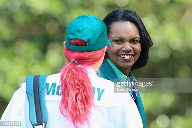 Condoleezza Rice, former Secretary of State and current Augusta National Member greets Caroline Wozniacki at the 2014 Par 3 Contest prior to the...