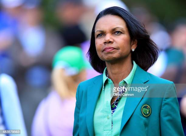 Condoleezza Rice, former Secretary of State and current Augusta National Member, attends the 2014 Par 3 Contest prior to the start of the 2014...