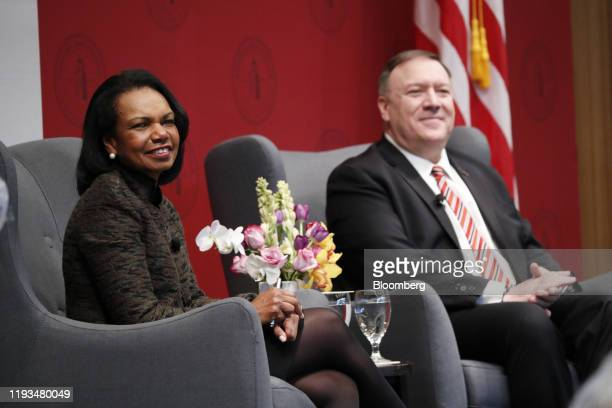 Condoleezza Rice former US secretary of state and Mike Pompeo US secretary of state right listen during an event hosted by the Hoover Institution at...