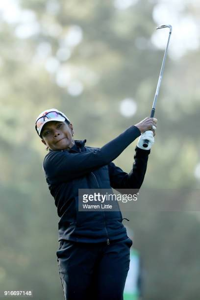 Condoleezza Rice plays her shot from the 11th tee during Round Three of the ATT Pebble Beach ProAm at Spyglass Hill Golf Course on February 10 2018...