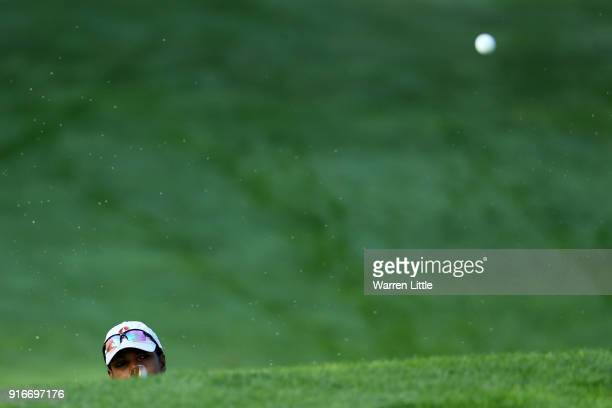 Condoleezza Rice plays her shot on the 11th hole during Round Three of the ATT Pebble Beach ProAm at Spyglass Hill Golf Course on February 10 2018 in...