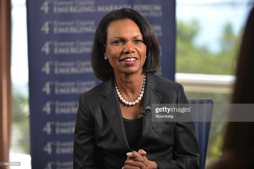 Condoleezza Rice, professor of political science at Stanford University and former secretary of state, speaks during a Bloomberg Television interview at the Everest Capital Emerging Market Forum, in Miami, Florida, U.S., on Thursday, March 7, 2013. Rice served as secretary of state under President George W. Bush from 2005-2009 Photographer: Mark Elias/Bloomberg via Getty Images