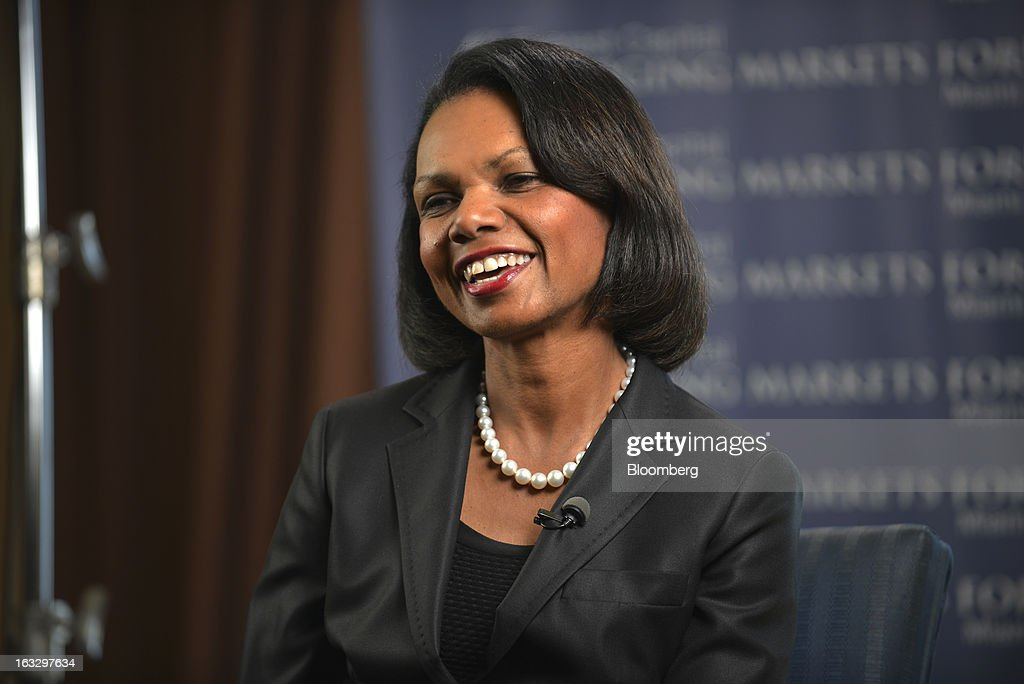 Condoleezza Rice, professor of political science at Stanford University and former secretary of state, laughs during a Bloomberg Television interview at the Everest Capital Emerging Market Forum, in Miami, Florida, U.S., on Thursday, March 7, 2013. Rice served as secretary of state under President George W. Bush from 2005-2009 Photographer: Mark Elias/Bloomberg via Getty Images