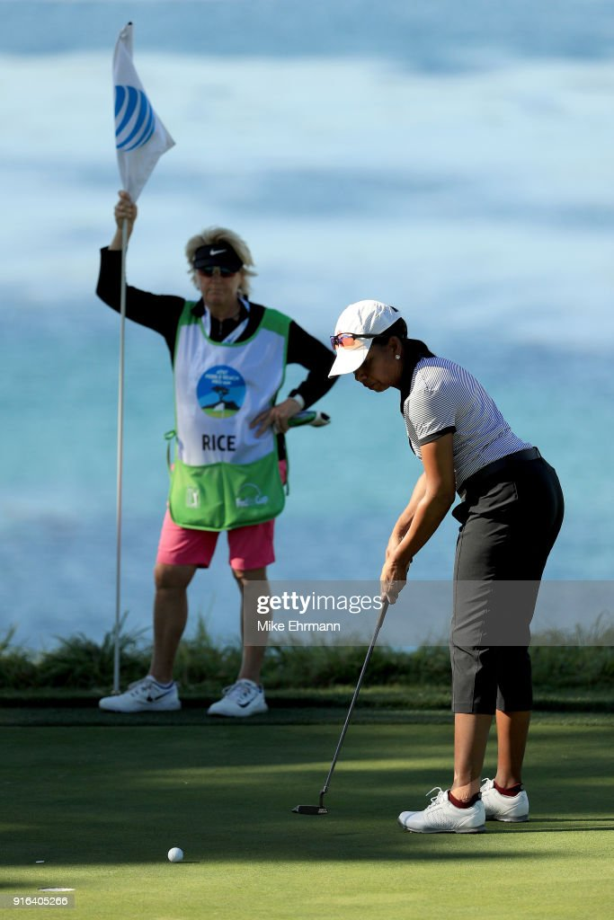 Condoleezza Rice putts on the fifth green during Round Two of the AT&T Pebble Beach Pro-Am at Pebble Beach Golf Links on February 9, 2018 in Pebble Beach, California.