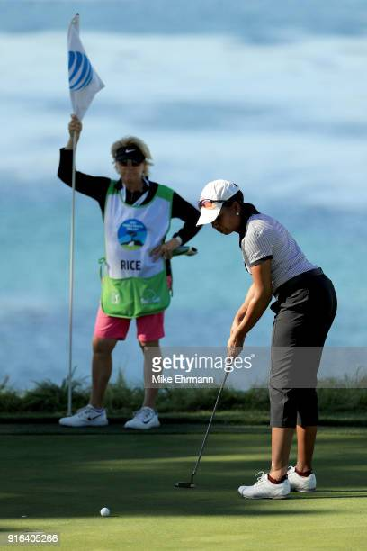 Condoleezza Rice putts on the fifth green during Round Two of the ATT Pebble Beach ProAm at Pebble Beach Golf Links on February 9 2018 in Pebble...
