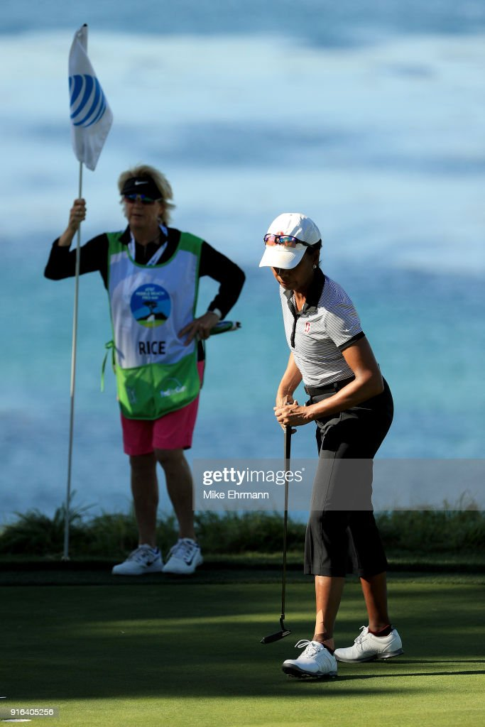 Condoleezza Rice reacts on the fifth green during Round Two of the AT&T Pebble Beach Pro-Am at Pebble Beach Golf Links on February 9, 2018 in Pebble Beach, California.