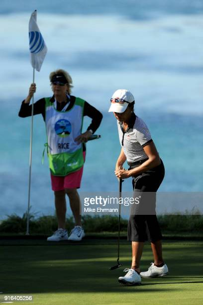 Condoleezza Rice reacts on the fifth green during Round Two of the ATT Pebble Beach ProAm at Pebble Beach Golf Links on February 9 2018 in Pebble...