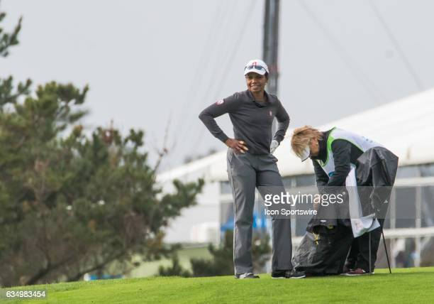 Condoleezza Rice readies for her second shot on the 4th fairway during the second round of the ATT Pebble Beach ProAm in Pebble Beach CA on Friday...
