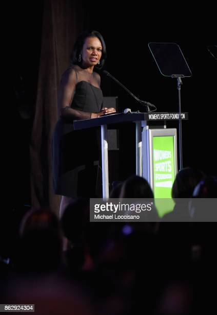 Condoleezza Rice receives the Billie Jean King leadership award onstage during The Women's Sports Foundation's 38th Annual Salute To Women in Sports...