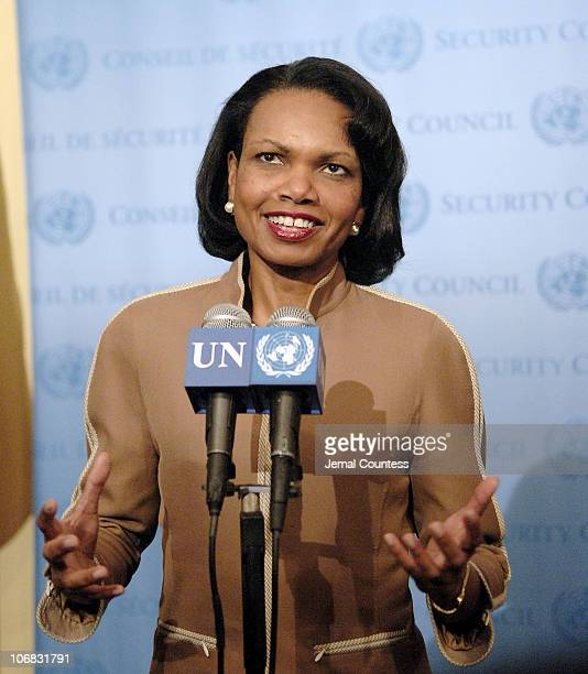 Condoleezza Rice Secretary of State of the United States addresses journalist following the 13th Plenary Meeting of the 60th General Assembly session...