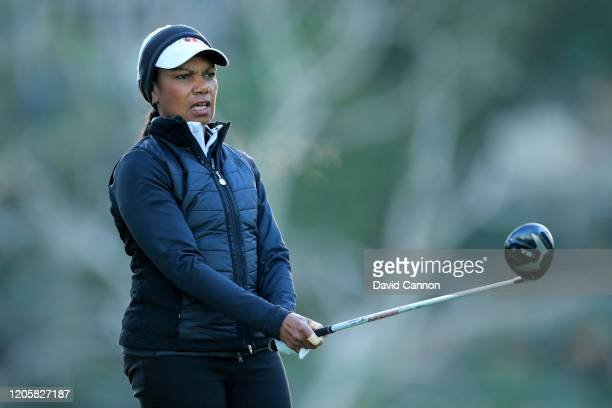 Condoleezza Rice the former United States Secretary of State plays a shot during the proam for the Genesis Invitational at the Riviera Country Club...
