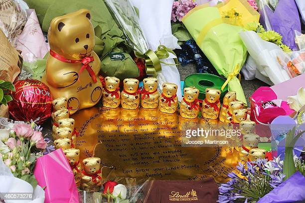 Condolence messages are left as a sign of respect at Martin Place on December 17 2014 in Sydney Australia Sydney siege gunman Man Haron Monis was...
