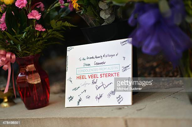 Condolences are left at a prayer service held at St David's Episcopal Church following a deadly car accident at the South by Southwest Music Film and...