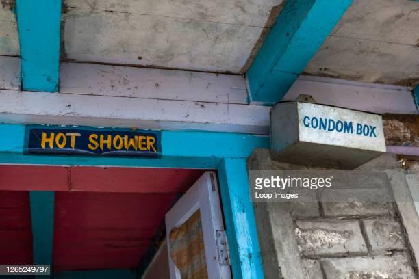 Condom box outside a shower block in Nepal.