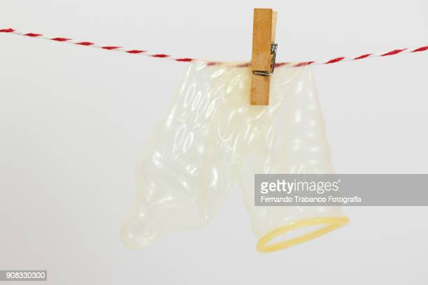 Condom on a clothesline