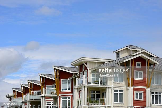 condominium building - richmond british columbia stock photos and pictures
