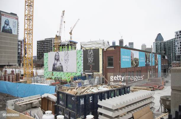 A condominium building stands under construction in the Griffintown neighborhood of Montreal Quebec Canada on Sunday April 15 2018 An economic...