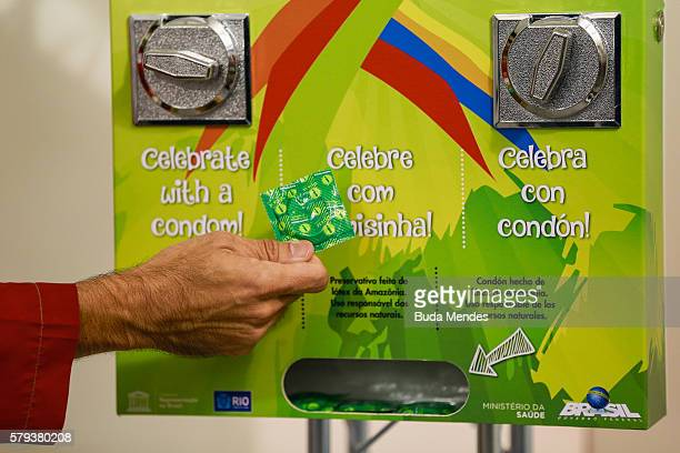 A condoms' distribution machine at the Olympic and Paralympic Village for the 2016 Rio Olympic Games displaying the Olympic Rings in Barra da Tijuca...