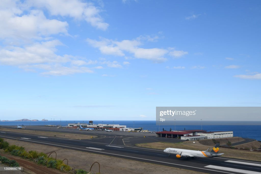 Condor Airbus A321 Airplane landing at Airport Cristiano Ronaldo on the Island Madeira, Portugal : Stock Photo