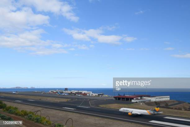"""condor airbus a321 airplane landing at airport cristiano ronaldo on the island madeira, portugal - """"sjoerd van der wal"""" or """"sjo"""" nature stock pictures, royalty-free photos & images"""