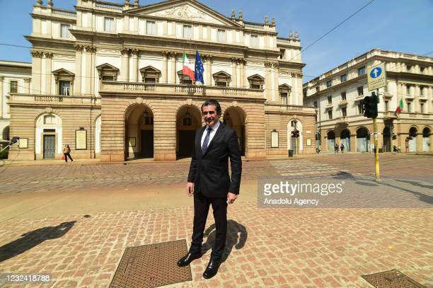 Conductor Alberto Veronesi, poses in front of the Teatro alla Scala in piazza alla Scala to protest against the continued closure of the theaters due...