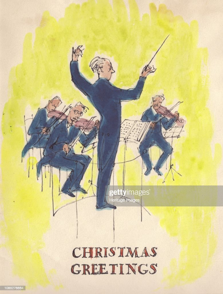 Christmas Card Artist.Conductor And Orchestra Christmas Card 1952 Artist