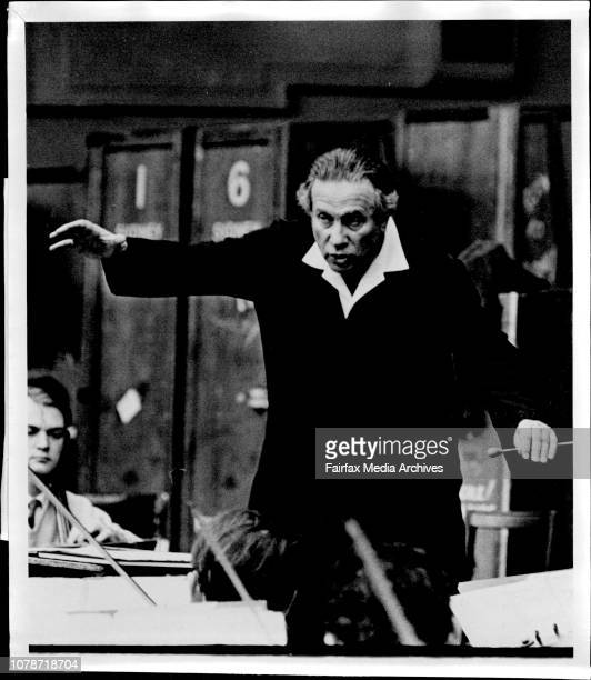Conductor Antal Dorati permanent conductor for the BBC Orchestra in London is shown rehearsing with the Sydney Symphony Orchestra at the Arcadia...