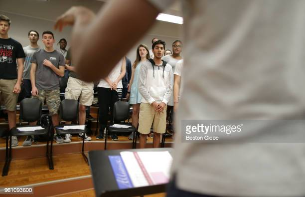 Conductor Anthony TrecekKing leads a rehearsal of the Boston Children's Chorus in Boston on May 3 2018 For a race and social justice project kids...
