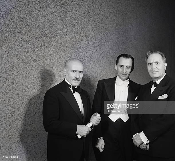 Conductor Arturo Toscanini attends his soninlaw pianist Vladimir Horowitz's recital in Los Angeles with fellow conductor Bruno Walter