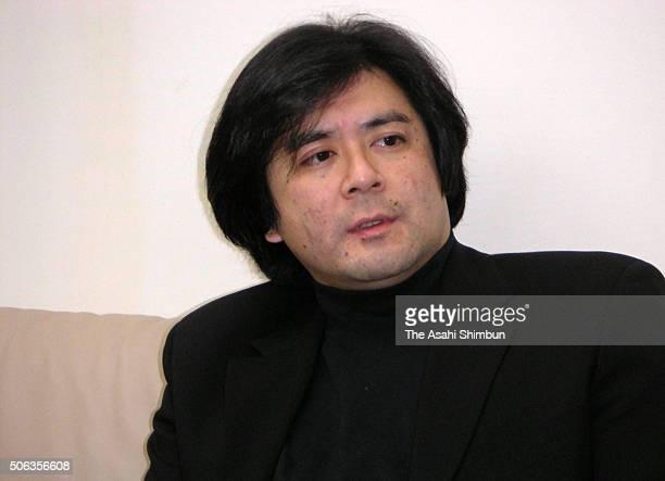Conductor Atsushi Yamada speaks during the Asahi Shimbun interview on January 15 2005 in Tokyo Japan