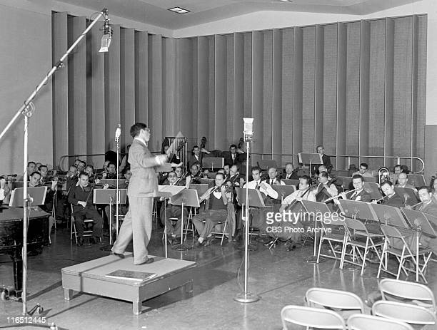 Conductor Bernard Herrmann with the Columbia Broadcasting Symphony Orchestra Image dated October 1 1944