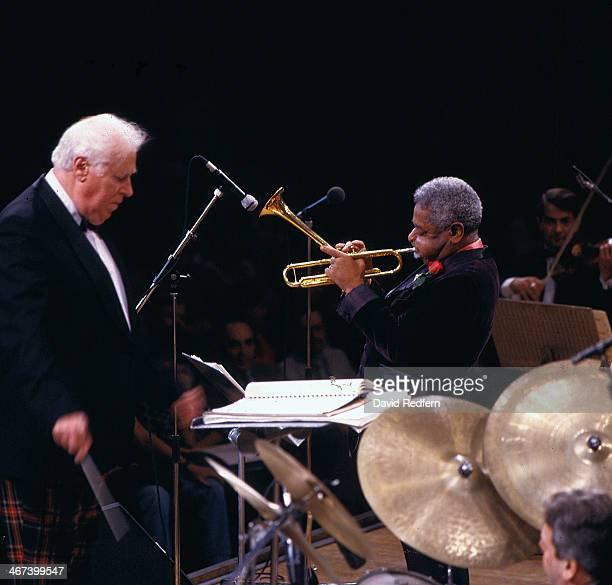 Conductor Bob Farnon on stage with jazz trumpeter Dizzy Gillespie Royal Festival Hall London England November 1985