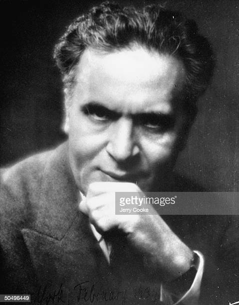 Conductor Bruno Walter with hand to chin in the gesture of inspiration