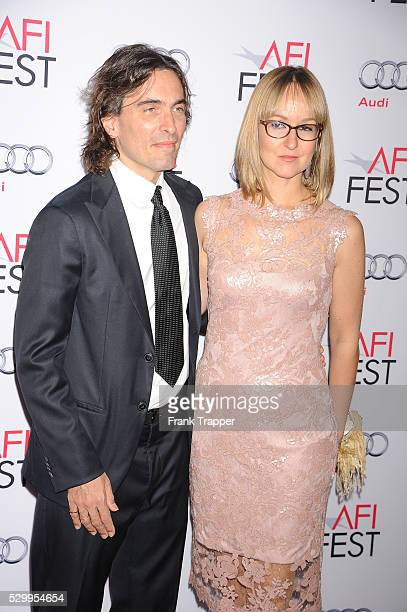 Conductor Carlo Ponti Jr and violinist Andrea Meszaros Ponti arrive the AFI FEST 2014 special tribute to Sophia Loren held at The Dolby Theater in...