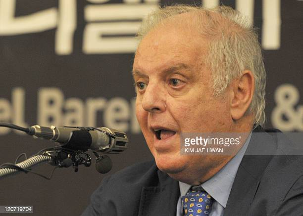 Conductor Daniel Barenboim speaks at a press conference in Seoul on August 9 2011 ahead of a rare concert near the border with North Korea next week...