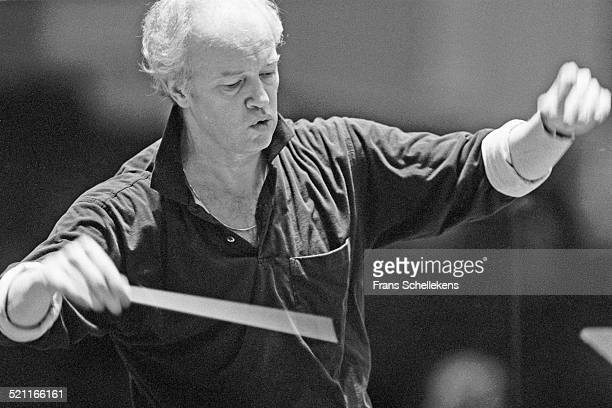 Conductor Edo de Waart conducts at the Concertgebouw on April 15th 1992 in Amsterdam, Netherlands.