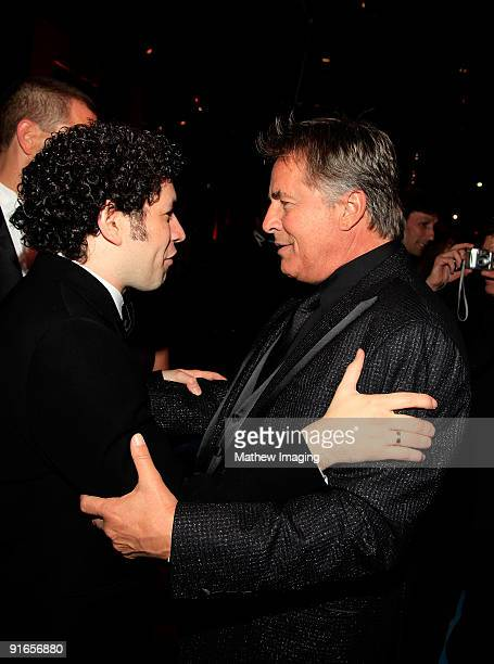 Conductor Gustavo Dudamel and actor Don Johnson at the Los Angeles Philharmonic Opening Night Gala at the Walt Disney Concert Hall on October 8 2009...