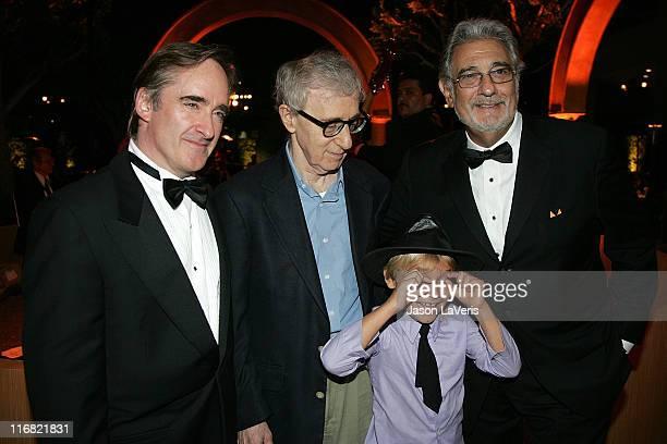 Conductor James Conlon director/actor Woody Allen actor Sage Ryan and tenor Placido Domingo attend the LA Opera season opening weekend at the Dorothy...