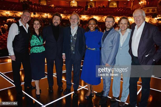 Conductor John Rigby Cassidy Janson Michael Ball Benny Andersson Alexandra Burke Bjorn Ulvaeus Tim Howar and Sir Tim Rice pose onstage during the...