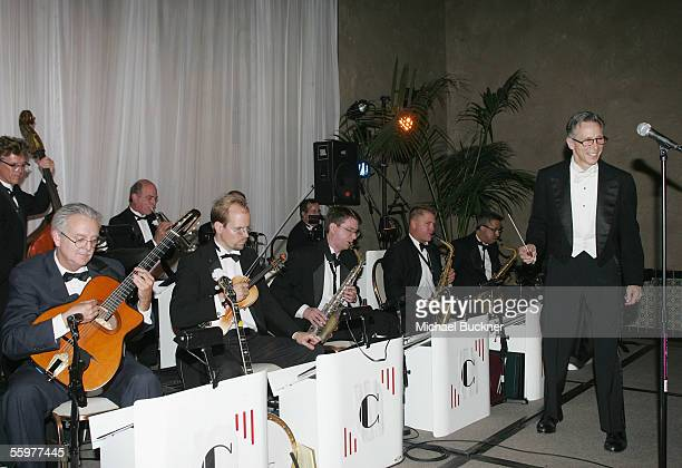 Conductor Johnny Crawford and his orchestra perform at the after party for Encore's Bullets Over Hollywood at the Roosevelt Hotel on October 20 2005...