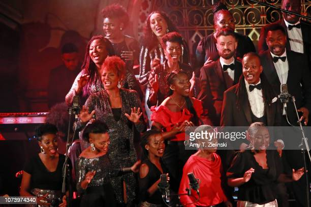 Conductor Karen Gibson leads The Kingdom Choir as they perform at the Union Chapel on November 28 2018 in London England The choir is best known for...