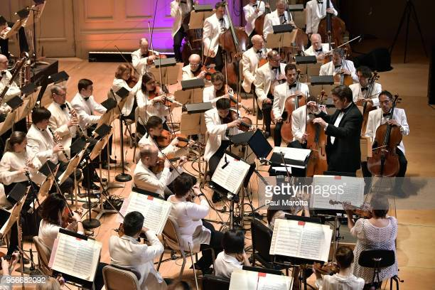 Conductor Keith Lockhart leads the Boston Pops Orchestra in a Leonard Bernstein Centennial Tribute for the orchestra's opening night concert on May 9...