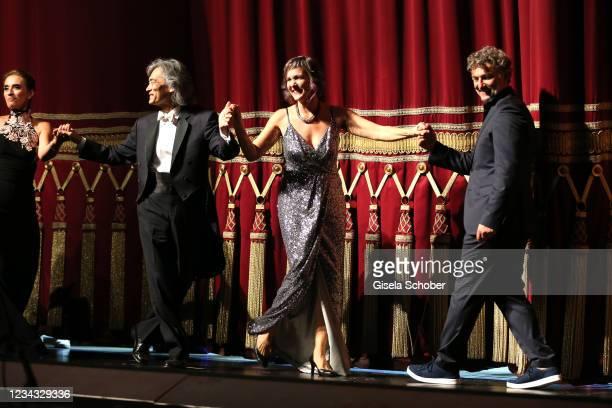 """Conductor Kent Nagano, opera singer Marlis Petersen, Jonas Kaufmann attend the extra festival concert """"Der wendende Punkt"""" as part of the Munich..."""