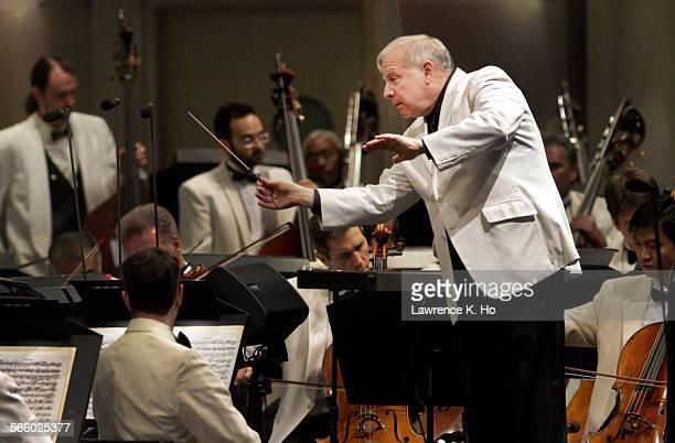 Conductor Leonard Slatkin opening the LA Phil's summer season at the Hollywood Bowl with Beethoven's Ninth on Jul 10 2012 Video artist Herman...